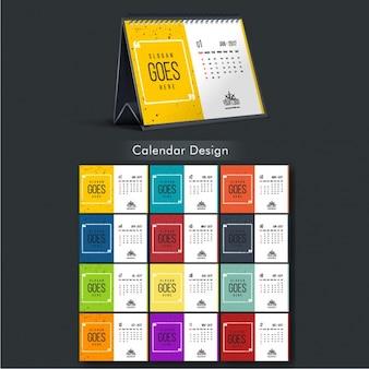 Calendario de 2017 con cuadrados de colores