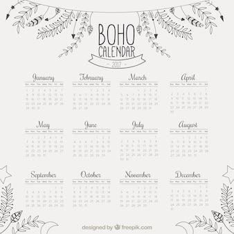 Calendario de 2017 con decoración floral dibujada a mano