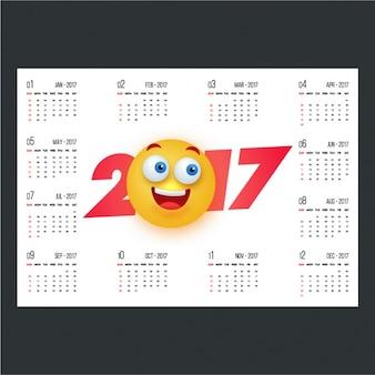 Calendario de 2017 con emoticono sonriente