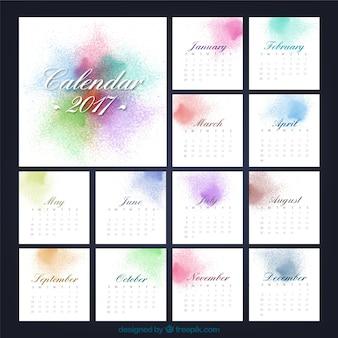 Calendario de 2017 con salpicaduras de pintura