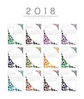 Calendario de 2018 con diseño de hojas
