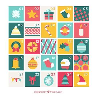 Calendario de adviento con elementos típicos de navidad
