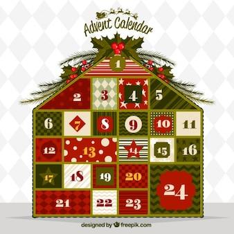 Calendario de adviento en forma de casa
