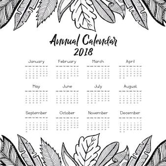 Calendario de hojas dibujadas a mano 2018