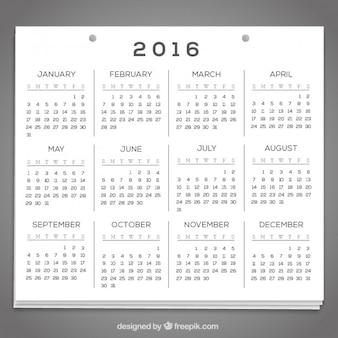 Calendario de papel de 2016