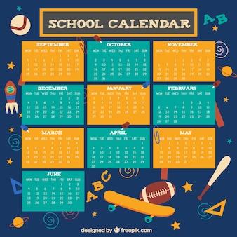 Calendario escolar con elementos deportivos