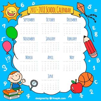 Calendario escolar con elementos dibujados a mano