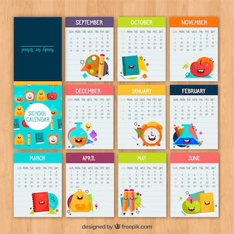 Calendario escolar con materiales sonrientes