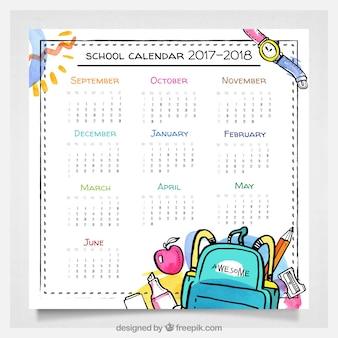 Calendario escolar en acuarela con estilo divertido