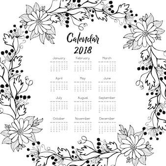 Calendario floral blanco y negro 2018 de la guirnalda
