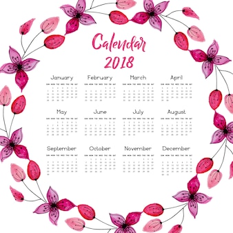 Calendario floral rosado 2018 de la guirnalda