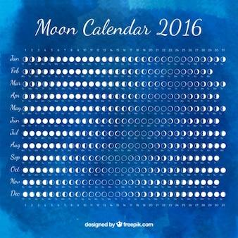 Calendario lunar de acuarela azul