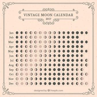 Calendario lunar en estilo vintage