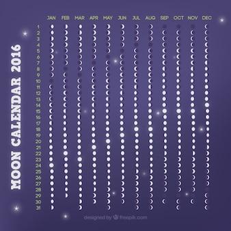 Calendario lunar morado de 2016