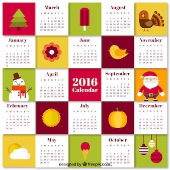 Calendario plano de dibujos