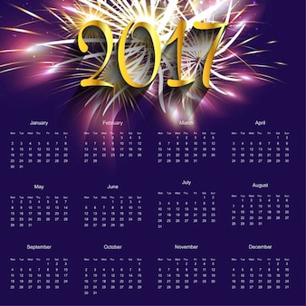 Calendario púrpura con fuegos artificiales