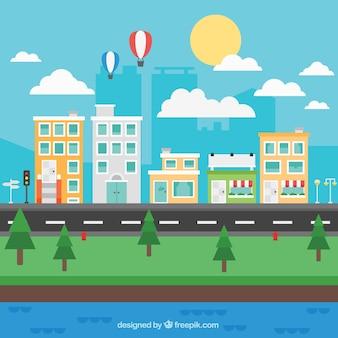 Calle de ciudad en diseño plano