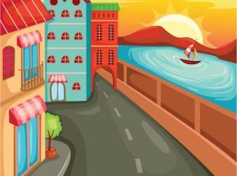 Calle de dibujos animados con los edificios y el mar. costa.