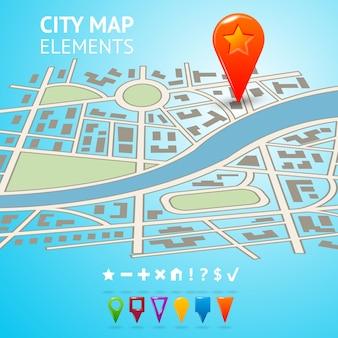 Calle de la ciudad carretera mapa decorativo con marcadores de navegación y pins ilustración vectorial