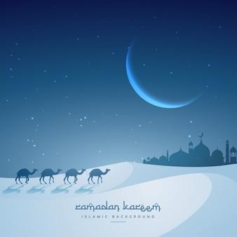 Camellos caminando en un desierto nocturno