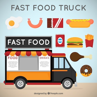 camión de comida rápida con variedad de alimentos