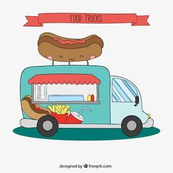 Camión de perritos caliente esbozado