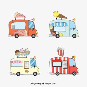 Camiones de comida rápida dibujados a mano