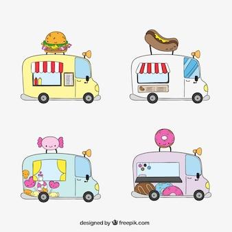 Camiones de comida rápida esbozados