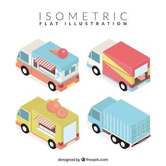 Camiones isométricos para diferentes negocios