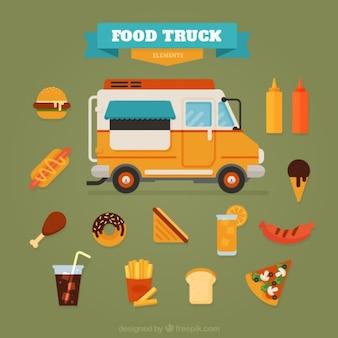 Camioneta de comida plana con alimentos deliciosos