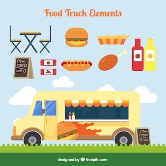 Camioneta vintage de comida con comida rápida