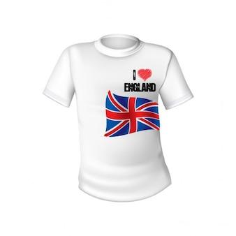 Camiseta blanca con la bandera de inglaterra