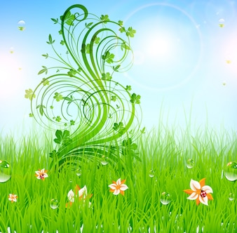 Campo primavera escena arte brillo