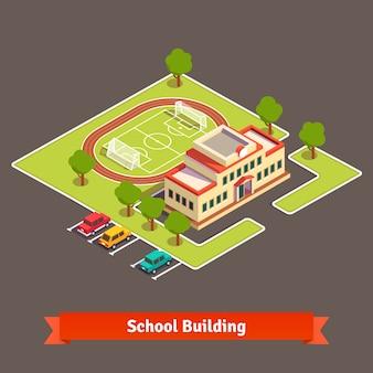 Campus universitario isométrico o edificio escolar