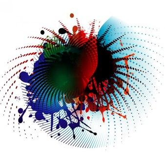 Capas de colores con elementos de medios tonos