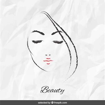 Cara de mujer en papel arrugado