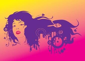 Cara de una niña con el pelo púrpura artístico