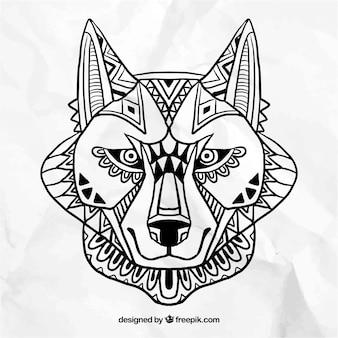 Cara del lobo abstracta