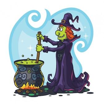 Carácter fantasmagórica de la bruja con la poción mágica