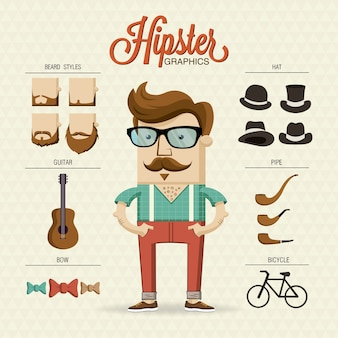 Carácter hipster con elementos