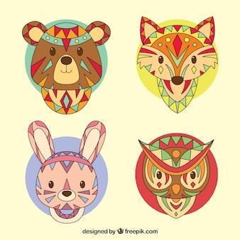 Caras de animales étnicos