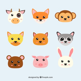 Caras de animales kawaii