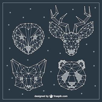 Caras de animales poligonales