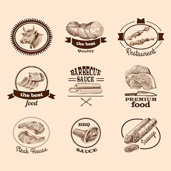 Carne de alimentos de primera calidad de primera calidad bistec etiquetas decorativas conjunto de bocetos aislados ilustración vectorial