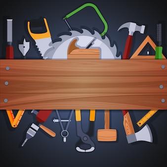 Carpintería herramientas de fondo