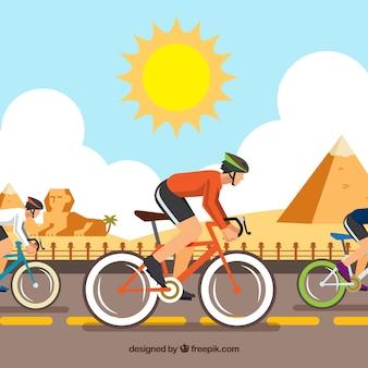 Carrera de bicicletas en egipto con diseño plano