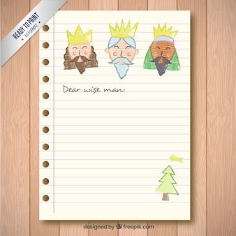 Carta a los reyes magos dibujada a mano