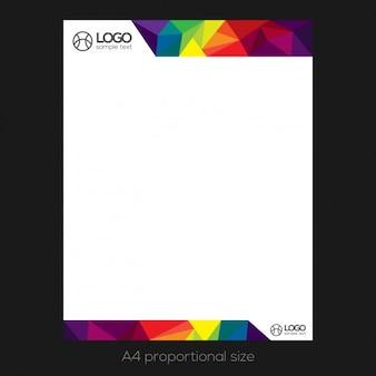 Carta con membrete colorido poligonal