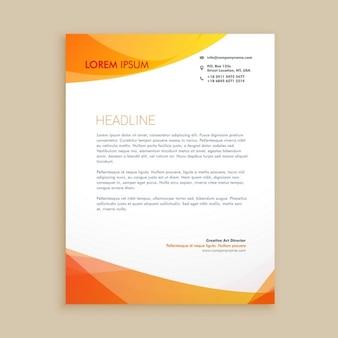 Carta con membrete elegante naranja