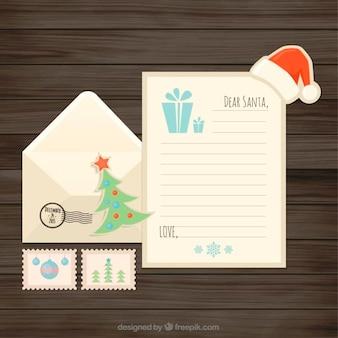 Carta de navidad plana con sobre